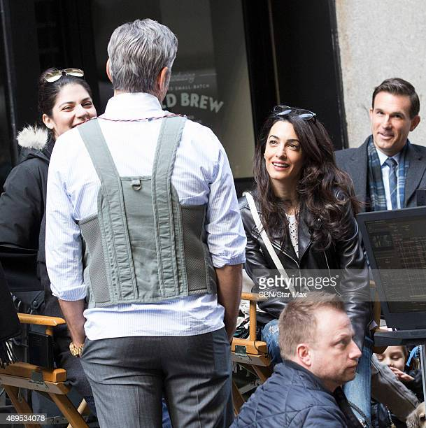Amal Alamuddin Clooney and George Clooney are seen on the set of 'Money Monster' on April 12 2015 in New York City
