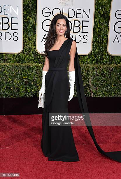 Amal Alamuddin Clooney attends the 72nd Annual Golden Globe Awards at The Beverly Hilton Hotel on January 11 2015 in Beverly Hills California
