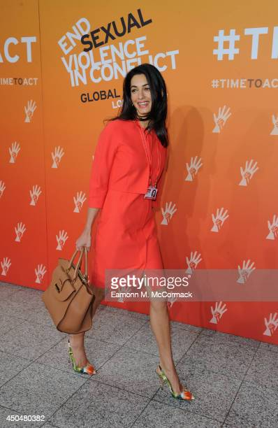 Amal Alamuddin Fiance of Actor George Clooney attends the Global Summit to End Sexual Violence in Conflict at ExCel on June 12 2014 in London England...