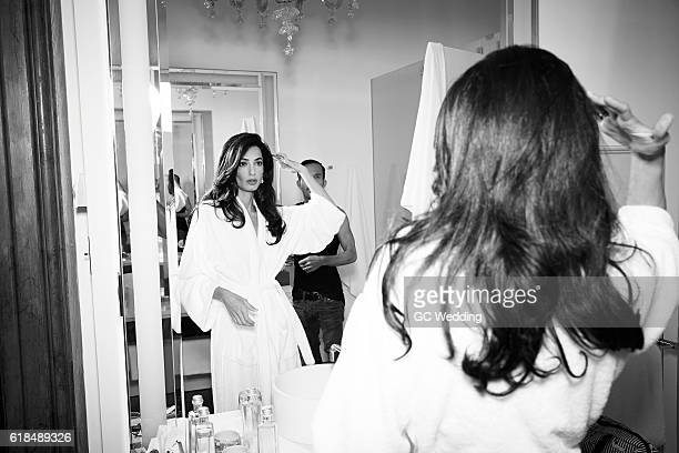 Amal Alamuddin prepares before the George Clooney and Amal Alamuddin Wedding on September 27 2014 in Venice Italy