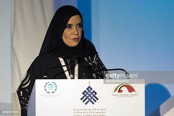 Amal alQubaisi UAE's President of the Federal National Council delivers a speech during the international summit of women parliamentary speakers on...