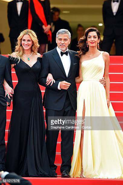 Amal Clooney actor George Clooney and actress Julia Roberts attend the Money Monster premiere during the 69th annual Cannes Film Festival at the...