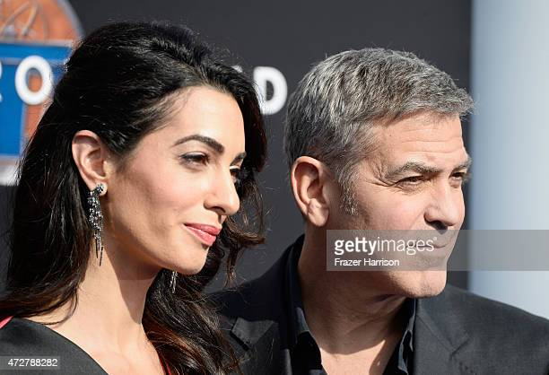 Amal Clooney and actor George Clooney attend the premiere of Disney's 'Tomorrowland' at AMC Downtown Disney 12 Theater on May 9 2015 in Anaheim...