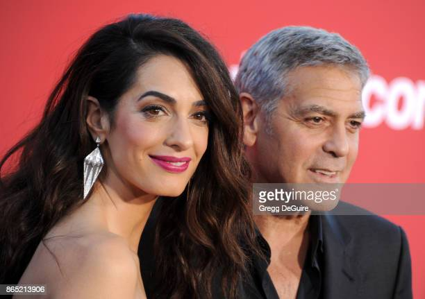Amal Clooney and George Clooney arrive at the premiere of Paramount Pictures' 'Suburbicon' at Regency Village Theatre on October 22 2017 in Westwood...