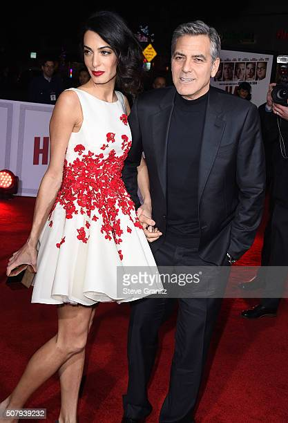 Amal Clooney and George Clooney arrives at the Premiere Of Universal Pictures' Hail Caesar at Regency Village Theatre on February 1 2016 in Westwood...