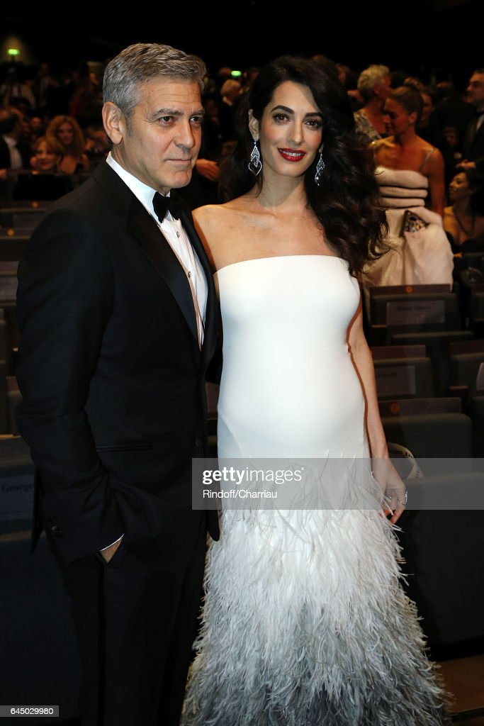 Amal Clooney and George Clooney attend Cesar Film Award 2017 at Salle Pleyel on February 24, 2017 in Paris, France.