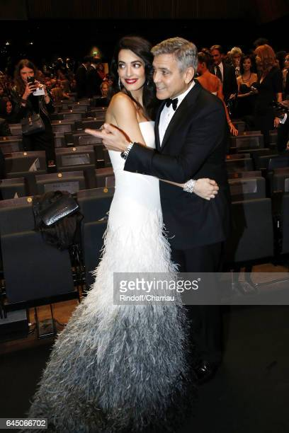 Amal Clooney and George Clooney attend Cesar Film Award 2017 at Salle Pleyel on February 24 2017 in Paris France