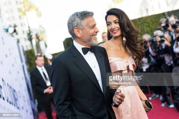 Amal Clooney and George Clooney attend the American Film Institute's 46th Life Achievement Award Gala Tribute to George Clooney at Dolby Theatre on...