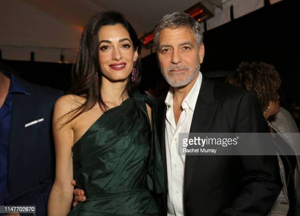 "Amal Clooney and George Clooney attends the premiere of Hulu's ""Catch-22"" on May 07, 2019 in Hollywood, California."