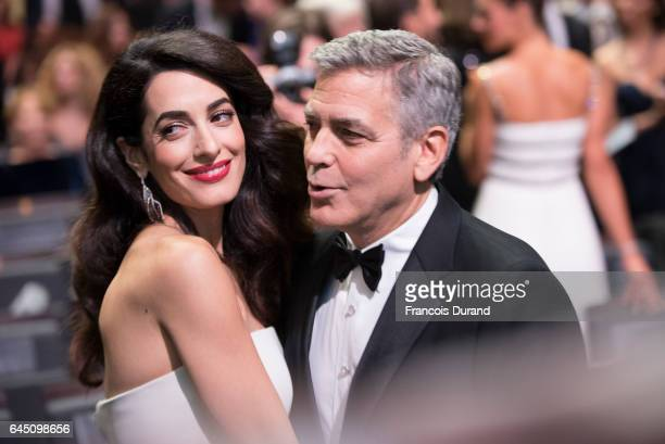 Amal Clooney and George Clooney prior to the Cesar Film Awards Ceremony at Salle Pleyel on February 24 2017 in Paris France