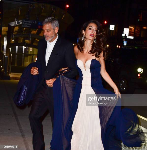 Amal Clooney and George Clooney seen on the streets of Manhattan on December 5, 2018 in New York City.
