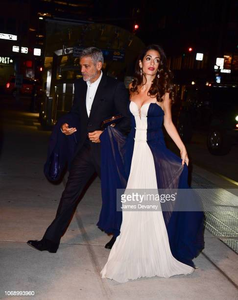 Amal Clooney and George Clooney seen on the streets of Manhattan on December 5 2018 in New York City