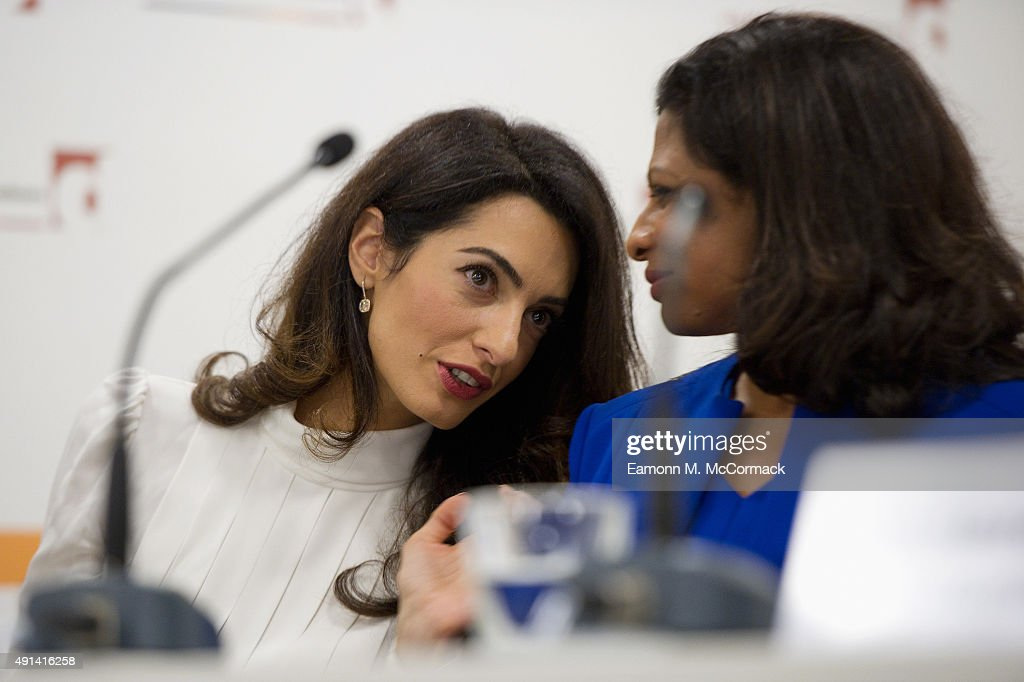 Amal Clooney and Laila Ali, Wife of Former Maldivian President Mohamed Nasheed attend a press conference regarding the detention of Mohamed Nasheed, President of the Maldives at Doughty Street Chambers on October 5, 2015 in London, England. Clooney is part of an international legal team seeking to release Maldivian President Mohamed Nasheed after he was was jailed for 13 years. The UN have found Nasheed's detention in violation of international Law.
