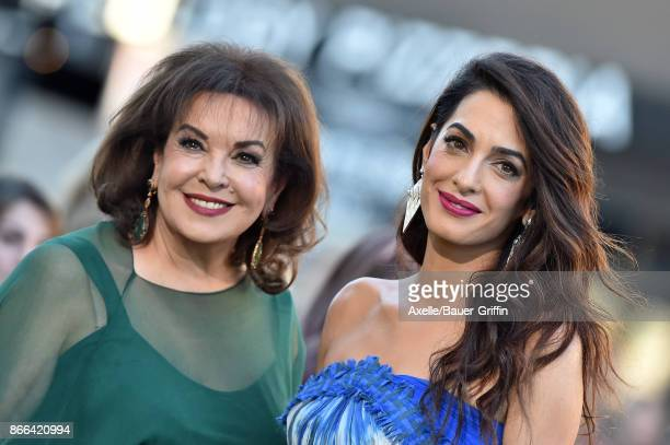 Amal Clooney and mom Baria Alamuddin arrive at the premiere of Paramount Pictures' 'Suburbicon' at Regency Village Theatre on October 22 2017 in...