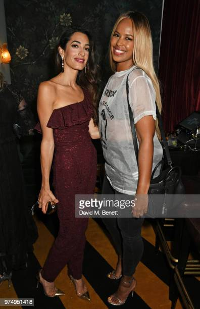 Amal Clooney and Sabrina Dhowre attend a private dinner hosted by Edward Enninful in honour of Giambattista Valli to celebrate the opening of his...