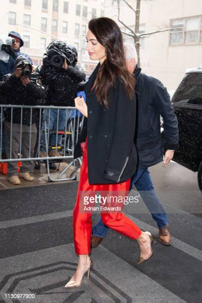 Amal Clooney arrives at Meghan Duchess of Sussex's baby shower on February 20 2019 in New York City