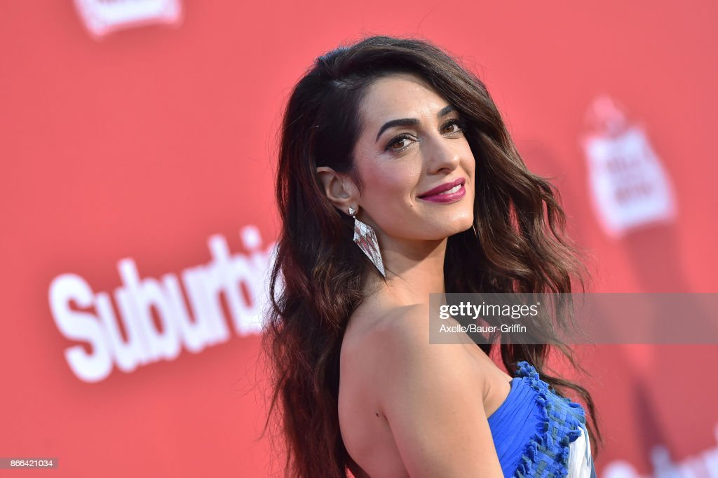 Amal Clooney arrives at the premiere of Paramount Pictures' 'Suburbicon' at Regency Village Theatre on October 22, 2017 in Westwood, California.