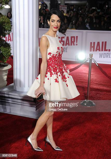 Amal Clooney arrives at the premiere of Universal Pictures' 'Hail Caesar' at Regency Village Theatre on February 1 2016 in Westwood California