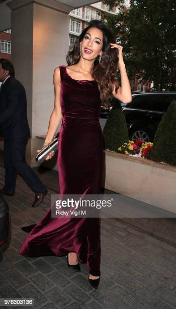 Amal Clooney arrives for the WAAAUB Uk Chapter Gala Dinner on June 16 2018 in London England