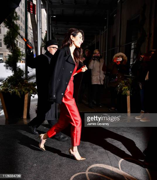 Amal Clooney arrives to The Carlyle after attending Meghan Duchess of Sussex's baby shower on February 20 2019 in New York City