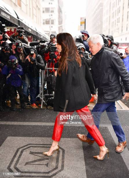 Amal Clooney arrives to The Mark Hotel for Meghan Duchess of Sussex's baby shower on February 19 2019 in New York City