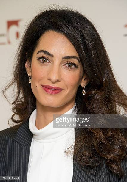 Amal Clooney attends a press conference at Doughty Street Chambers on October 5 2015 in London England Clooney is part of an international legal team...