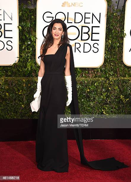 Amal Clooney attends the 72nd Annual Golden Globe Awards at The Beverly Hilton Hotel on January 11 2015 in Beverly Hills California