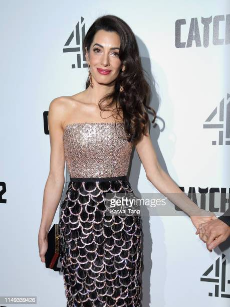"""Amal Clooney attends the """"Catch 22"""" UK premiere at the Vue Westfield on May 15, 2019 in London, United Kingdom."""
