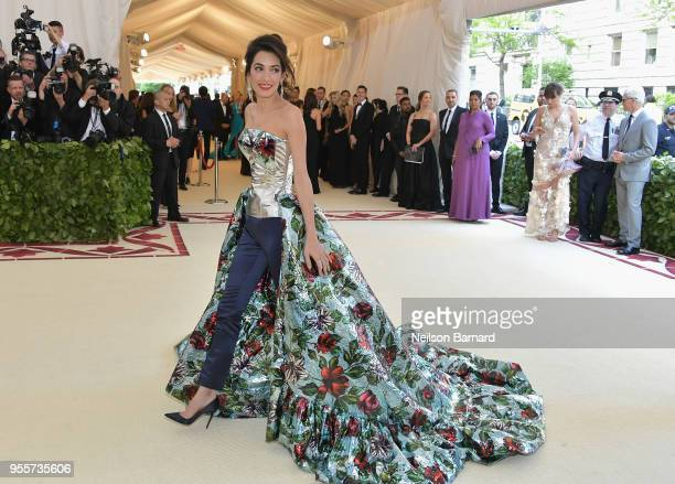 Amal Clooney attends the Heavenly Bodies Fashion The Catholic Imagination Costume Institute Gala at The Metropolitan Museum of Art on May 7 2018 in...