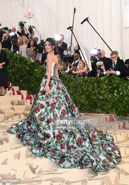 Amal Clooney attends the Heavenly Bodies Fashion The Catholic Imagination Costume Institute Gala at Metropolitan Museum of Art on May 7 2018 in New...