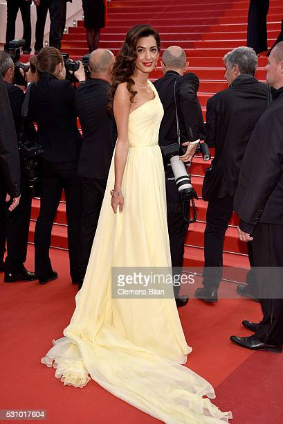 Amal Clooney attends the Money Monster premiere during the 69th annual Cannes Film Festival at the Palais des Festivals on May 12 2016 in Cannes...