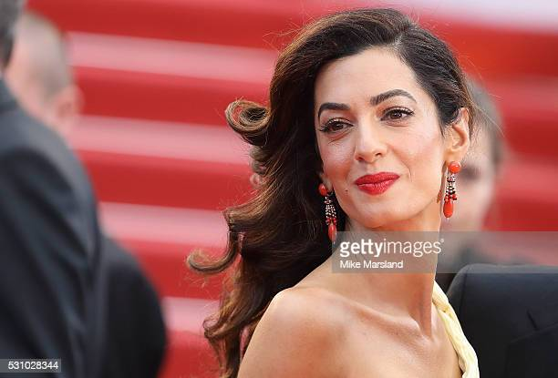 Amal Clooney attends the 'Money Monster' premiere during the 69th annual Cannes Film Festival at the Palais des Festivals on May 12 2016 in Cannes...