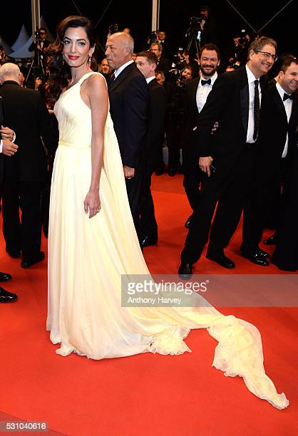 Amal Clooney attends the 'Money Monster' premiere during the 69th annual Cannes Film Festival at the Palais des Festivals on May 12, 2016 in Cannes,...