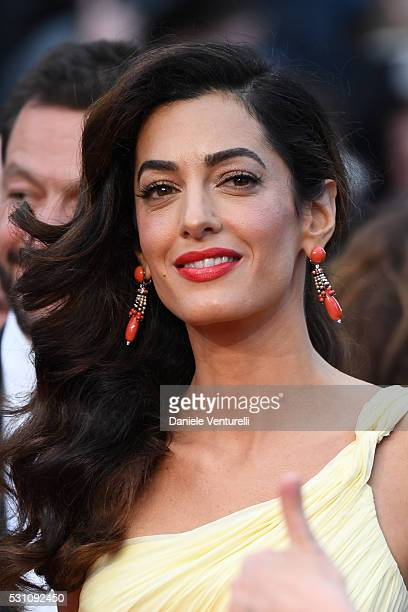 Amal Clooney attends the 'Money Monster' premiere during the 69th annual Cannes Film Festival at the Palais des Festivals on May 12 2016 in Cannes