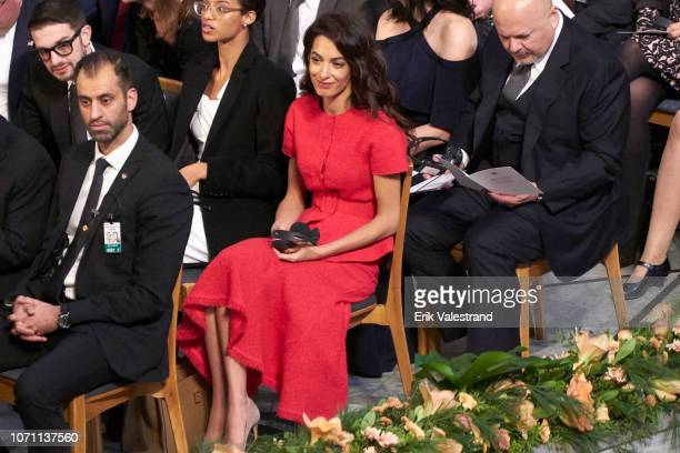 Amal Clooney attends the Nobel Peace Prize ceremony 2018 at Oslo City Town Hall on December 10 2018 in Oslo Norway The Congolese gynaecologist Denis...