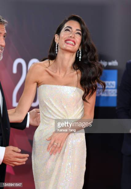 """Amal Clooney attends """"The Tender Bar"""" Premiere during the 65th BFI London Film Festival at The Royal Festival Hall on October 10, 2021 in London,..."""
