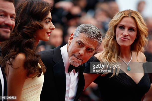 Amal Clooney George Clooney and Julia Roberts attend the 'Money Monster' premiere during the 69th annual Cannes Film Festival at the Palais des...
