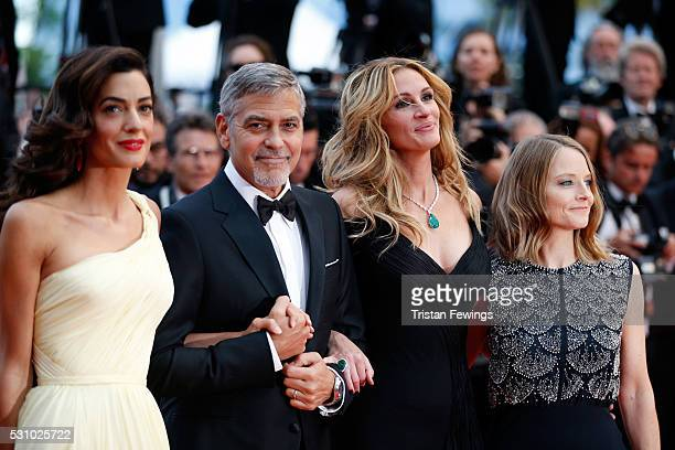 Amal Clooney George Clooney Julia Roberts and producer Jodie Foster attend the Money Monster premiere during the 69th annual Cannes Film Festival at...