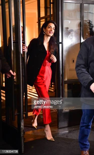 Amal Clooney leaves The Mark Hotel after attending Meghan Duchess of Sussex's baby shower on February 20 2019 in New York City