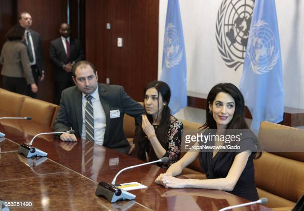 Amal Clooney meets with SecretaryGeneral Antonio Guterres at the UN Headquarters in New York City New York March 10 2017 Amal Clooney is the Legal...