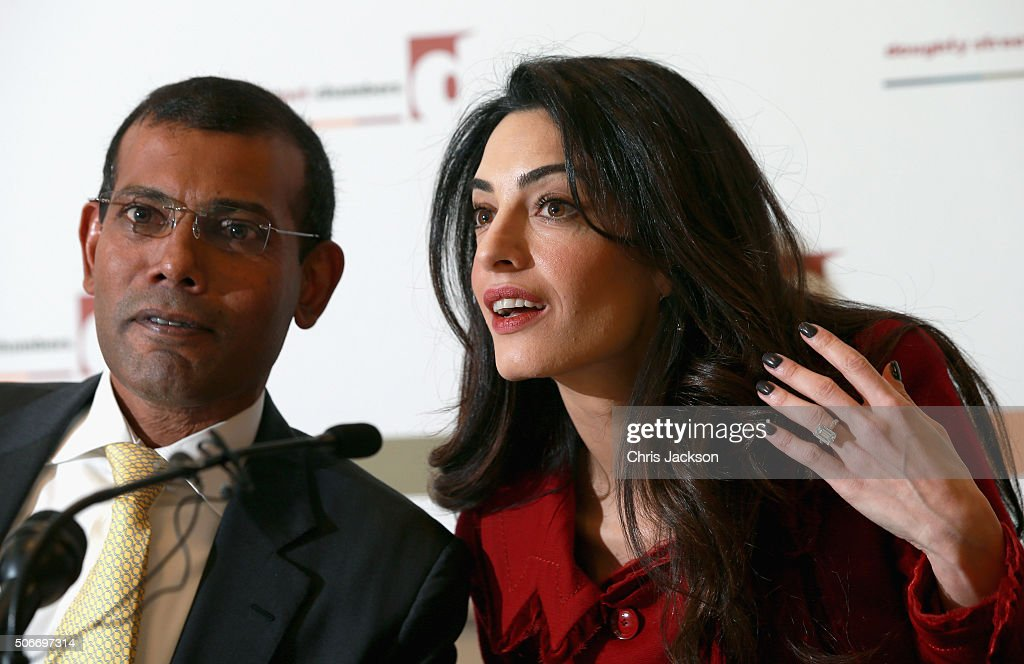 Press Conference with President Nasheed of the Maldives His And Lawyer Amal Clooney : News Photo