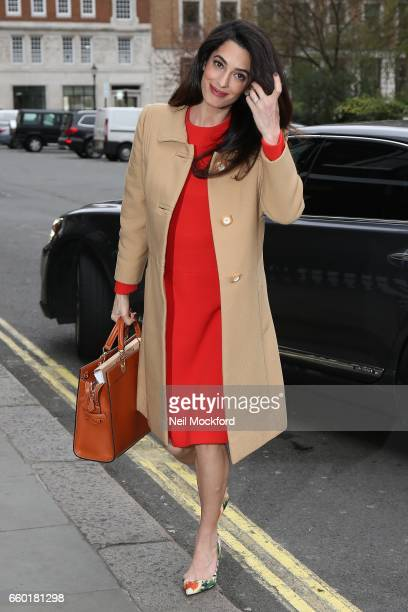 Amal Clooney seen arriving at Chatham House on March 29, 2017 in London, England.