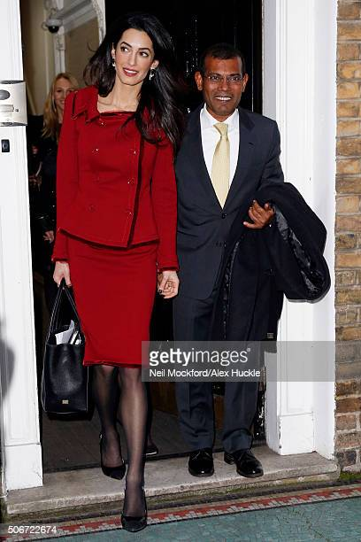Amal Clooney seen leaving the Doughty Street Chambers with her client Mohamed Nasheed after a press conference concerning the deposed Maldives...