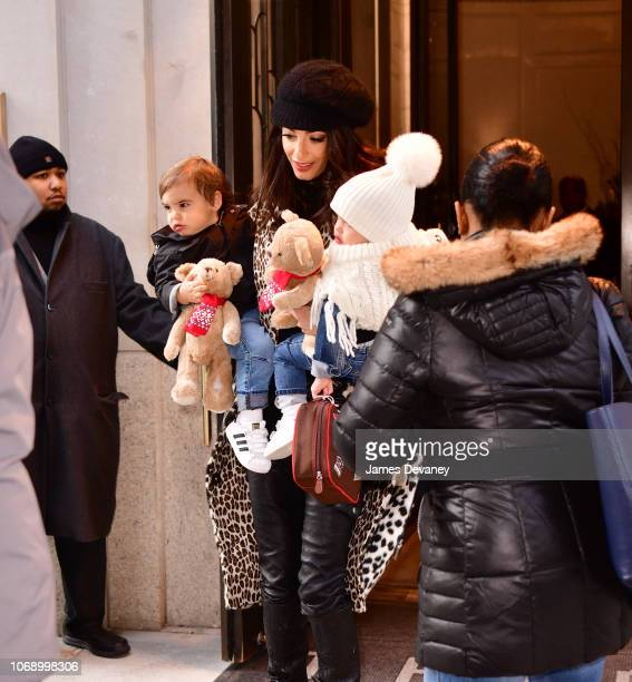 Amal Clooney seen with her children Alexander Clooney and Ella Clooney on December 6 2018 in New York City