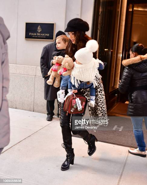Amal Clooney seen with her children Alexander Clooney and Ella Clooney on December 6, 2018 in New York City.