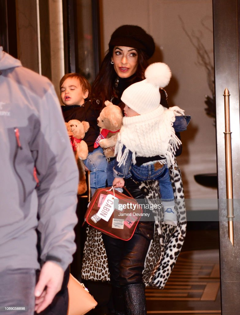 Amal Clooney Seen With Her Children Alexander Clooney And Ella