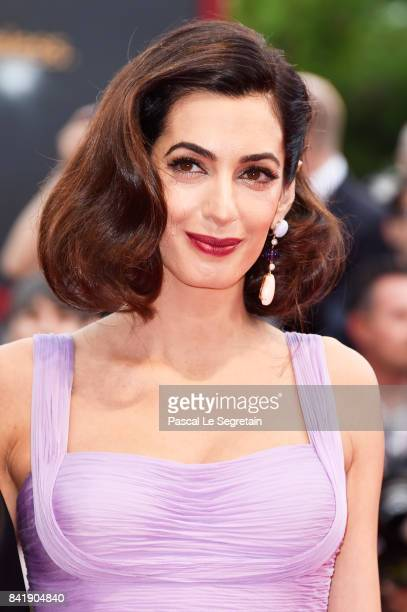 Amal Clooney walks the red carpet ahead of the 'Suburbicon' screening during the 74th Venice Film Festival at Sala Grande on September 2 2017 in...