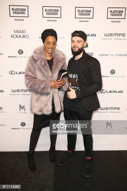 Amal Elmi and Alessandro Moica attend the 'The NRW Design Issue' show during Platform Fashion January 2018 at Areal Boehler on January 27 2018 in...