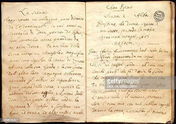 Amalasunta libretto by Carlo Goldoni pages of the handwritten manuscript 17311732 Venice Casa Di Carlo Goldoni