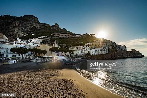 Amalfi beach at sunrise